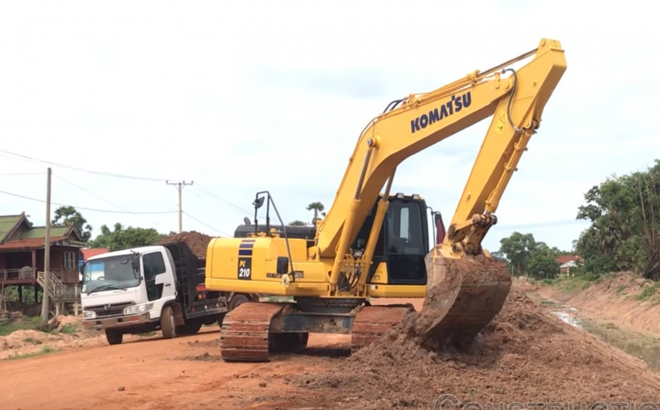 Canal Construction Excavators Working In Cambodia